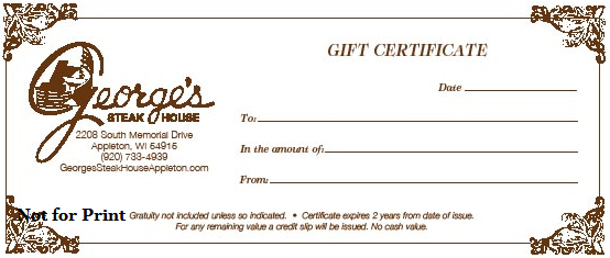 Georges restaurants gift certificates a perfect gift we can mail the certificate to you for personal delivery or we can send your gift directly to the recipient negle
